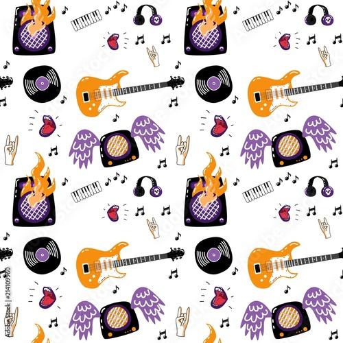 Rock music attributes seamless pattern  Alternative, metal hard rock