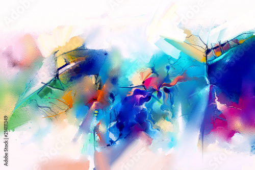 Photo  Abstract colorful oil painting on canvas texture