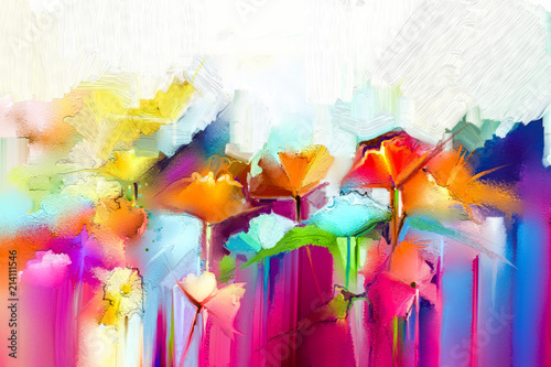 Fototapeta Abstract colorful oil painting on canvas. Semi- abstract image of flowers, in yellow and red with blue color. Hand drawn brush stroke, oil color paintings. Modern art oil paintings for background obraz