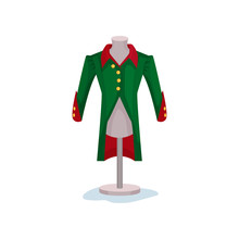 Medieval Men S Coat On Mannequin. Green Jacket With Golden Buttons. Museum Exhibit. Male Fashion Of Victorian Era. Flat Vector Icon