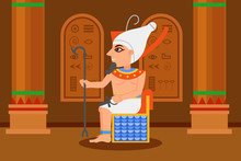 Egyptian Pharaoh Sitting In Throne Room With Hieroglyphs On Walls And Big Columns. Cartoon Man With Scepter And Ankh Cross. Flat Vector