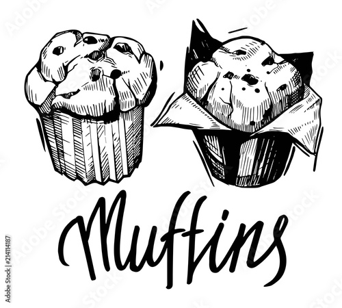 Valokuvatapetti Sketch of muffin