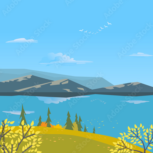 Foto op Aluminium Blauw Mountain green valley landscape. Autumn yellow season lake scenic view poster. Trees on river bank in Alps mountains. Freehand cartoon outdoors retro style. Vector countryside scene banner background
