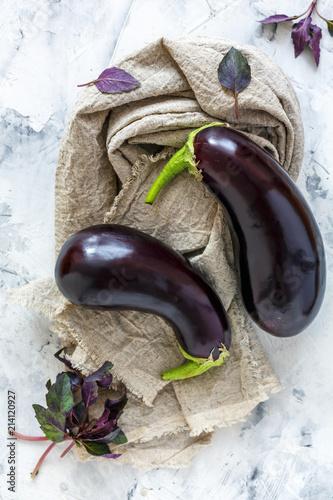 Purple eggplant and red basil.
