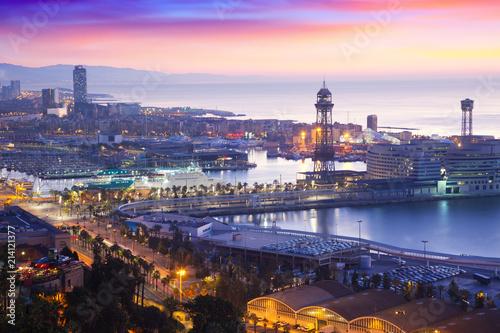 In de dag Barcelona Port Vell at Barcelona in dawn time. Catalonia