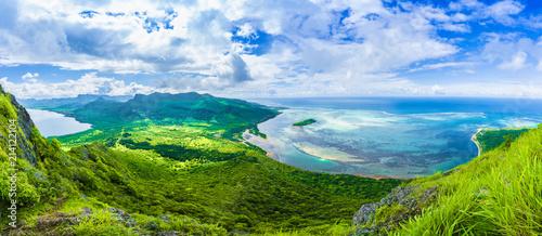 Fototapeta Aerial view of  Le Morne Brabant mountain, Mauritius island, Africa