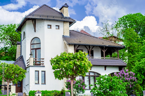 Fotografie, Obraz  House Mediterranean style, green trees and lilac bushes in front of