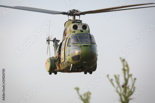 Tuinposter Helicopter SA 330 Puma military helicopter