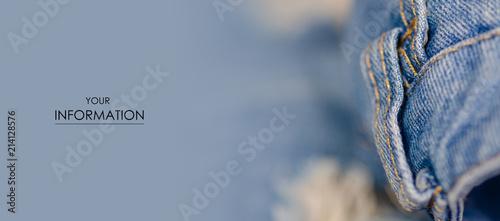 Fotografie, Tablou Jeans fashion ragged thread texture fabric macro pattern blur background