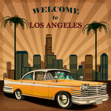 Welcome To Los Angeles Retro P...