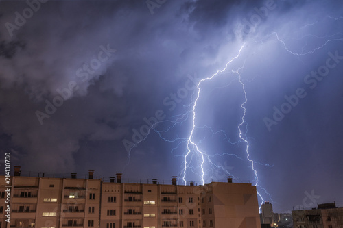 Fotografie, Obraz  lightning struck the house at night