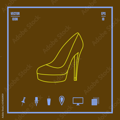 Valokuvatapetti women's shoes with high heel line vector icon