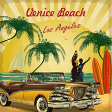 Welcome To Venice Beach, California Retro Poster.