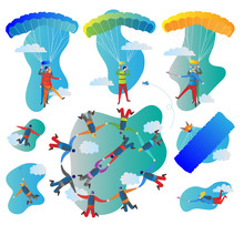 Skydiving Vector Illustration Set. Collection Of Solo, Tandem And Formation Group Flights. Pilot With Passenger, Harness, Parachute And Selfie Stick. Extreme Sport.