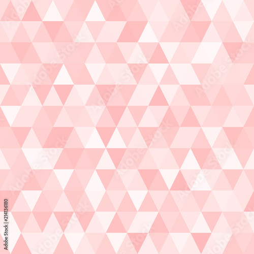 fototapeta na szkło Seamless Triangle Vector Pattern with Random Tints of Pink. Geometric Low-Poly Background. Polygonal Faceted Mosaic Texture for Web, Mobile Interfaces or Print Design. Repeating Tile Swatch Included