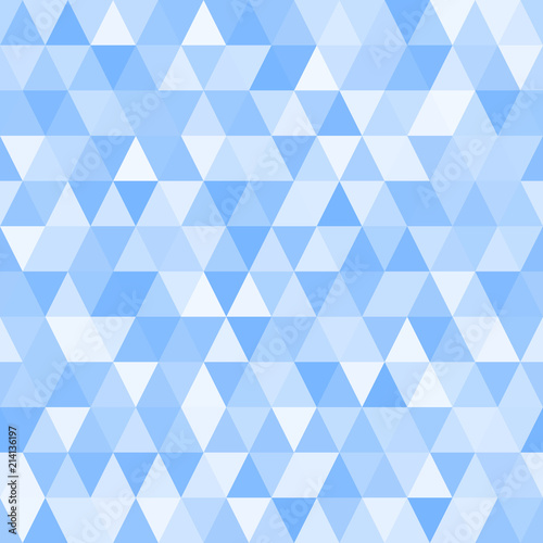 obraz PCV Seamless Triangle Vector Pattern with Random Tints of Blue. Geometric Low-Poly Background. Polygonal Faceted Mosaic Texture for Web, Mobile Interfaces or Print Design. Repeating Tile Swatch Included
