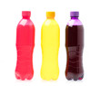 Refreshing pineapple ,raspberry, and grape drink in plastic bottle isolated on white background