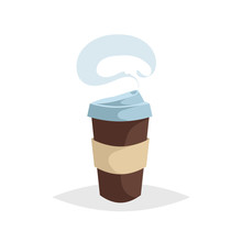 Cartoon Stylish Take Away Coffe Mug With Handle And Steam. Trendy  Decorative Design. Great For Cafe Menu. Vector Illustration.