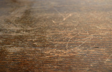 Close Up Of Vintage Style, Old, Used, Dark, Textured Wood With Scratches