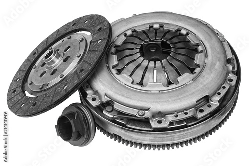 car clutch kit on white background with shallow depth of field