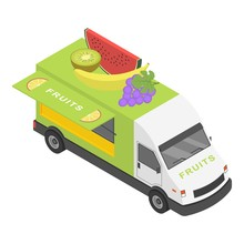 Fruits Truck Icon. Isometric O...