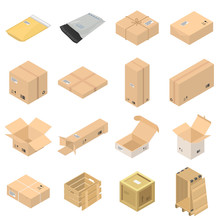 Parcel Packaging Delivery Box Poste Icons Set. Isometric Illustration Of 16 Parcel Packaging Delivery Box Poste Vector Icons For Web