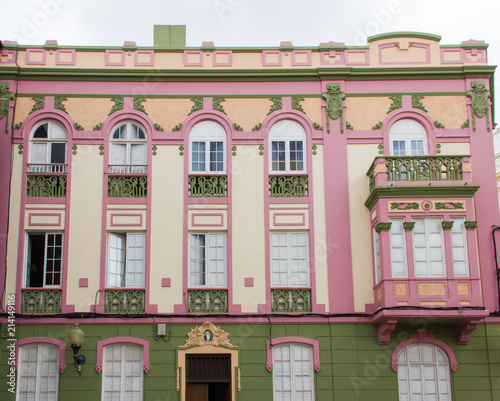 Pink building facade in Las Palmas city downtown, Canary Islands. Popular film location set. Gran Canaria architecture design concept