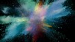 Color powder explosion isolated on black background. Shot with high speed cinema camera at 1000fps