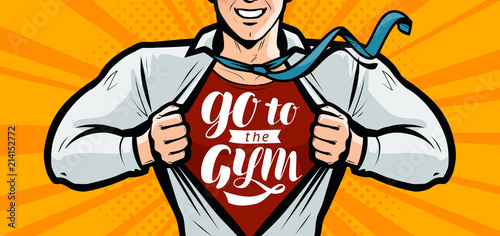 Idź na siłownię, inspirujące litery motywacyjne. Sport, fitness kulturystyka banner. Ilustracja wektorowa w stylu pop-artu, komiks