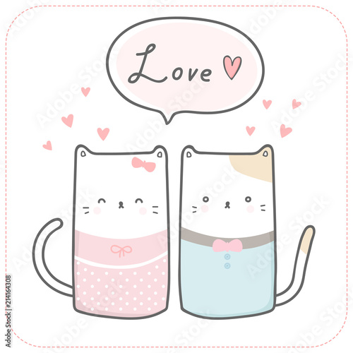 Cute Adorable Pastel Cat Kitten Lover Couple Cartoon Background