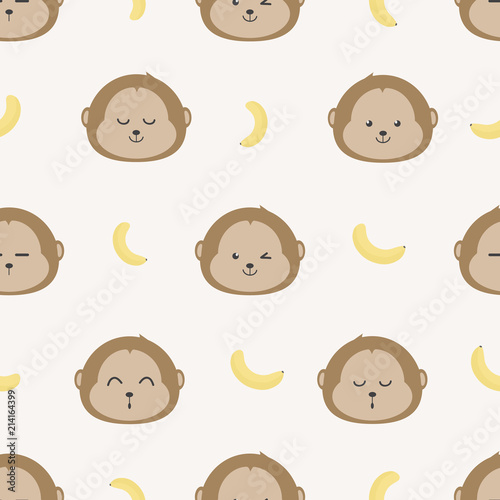 Cute Adorable Baby Monkey Faces And Bananas Cartoon Doodle