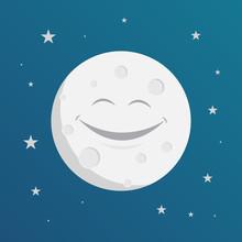 Happy Smiling Moon Design, Vector Illustration