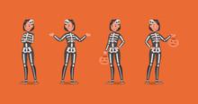 Halloween Skeleton Costumes  With Pumpkin Character Vector Design. No3