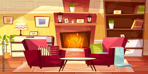Living Room Interior Vector Illustration Of Cozy Modern Or Retro Apartments And Furniture Cartoon Background