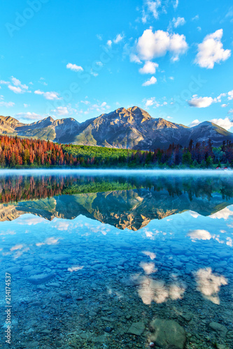 Aluminium Prints Blue Sunrise Over Patricia Lake in Jasper National Park