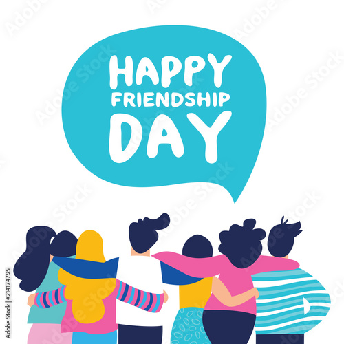 Fotomural Happy Friendship day card of friend group team hug