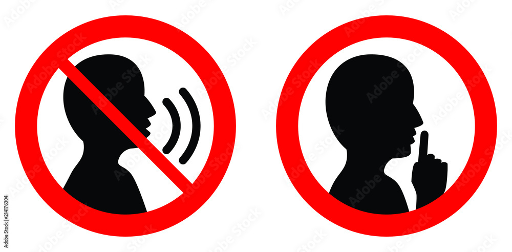 Fototapeta Keep quiet / silent please sign. Crossed person talking / Shhh icon in circle.