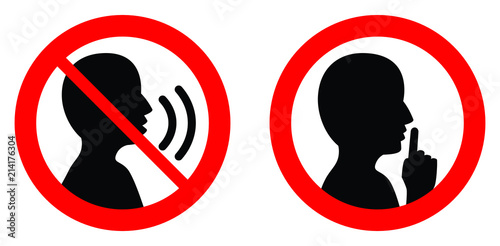 Obraz Keep quiet / silent please sign. Crossed person talking / Shhh icon in circle. - fototapety do salonu