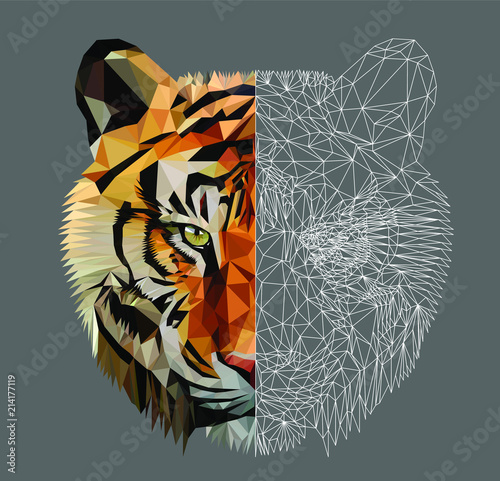 Foto Low poly triangular tiger head on dark background, vector illustration EPS 10 isolated