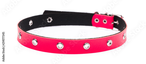 Fotografering red leather dog collar isolated on white background