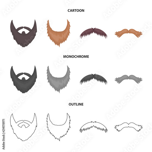 Mustache And Beard Hairstyles Cartoonoutlinemonochrome Icons In
