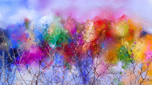 Stickers pour porte Bleu ciel Abstract colorful oil painting landscape on canvas.