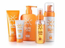 Set Of Sunscreens. Cream, Oil ...