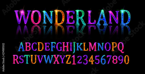 Wonderland font. Fairy ABC Canvas Print