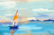 Leinwanddruck Bild - Colorful oil painting on canvas texture. Impressionism image of seascape paintings with sunlight background. Modern art oil paintings with boat, sail on sea. Abstract contemporary art for background