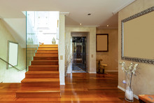Entry With Stairs And Glass, Parquet