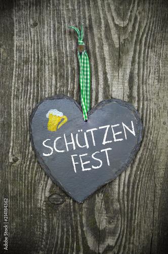 Schiefertafel Herz Schützenfest Volksfest