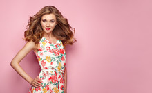 Blonde Young Woman In Floral S...