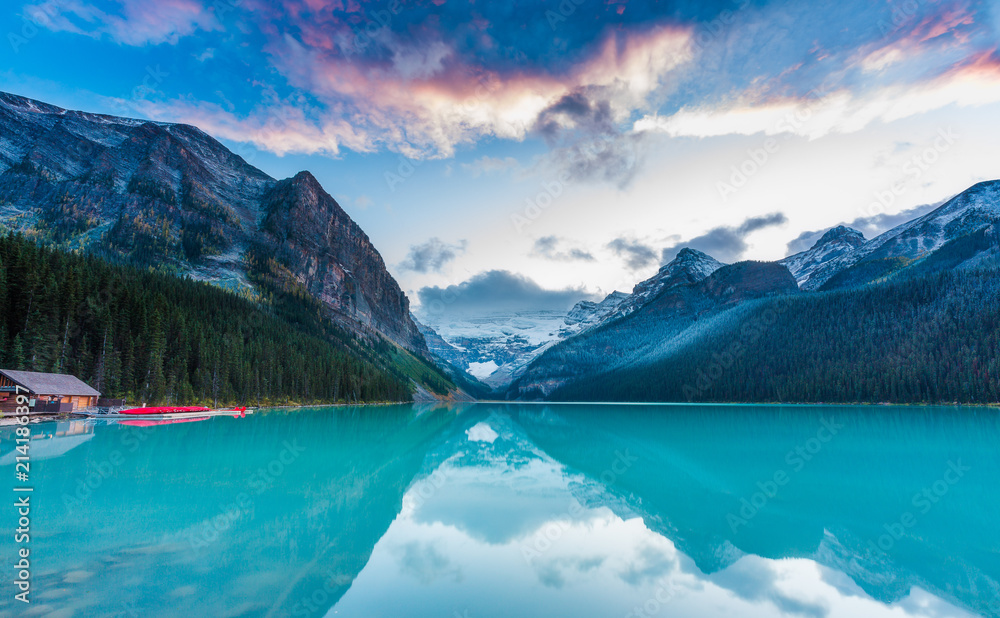 Fototapety, obrazy: Sunset at Lake Louise, Rocky Mountains Canada