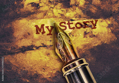 Pen and text My Story Canvas Print